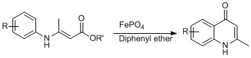 Iron (III) Phosphate catalyzed the synthesis of 4-quinolones